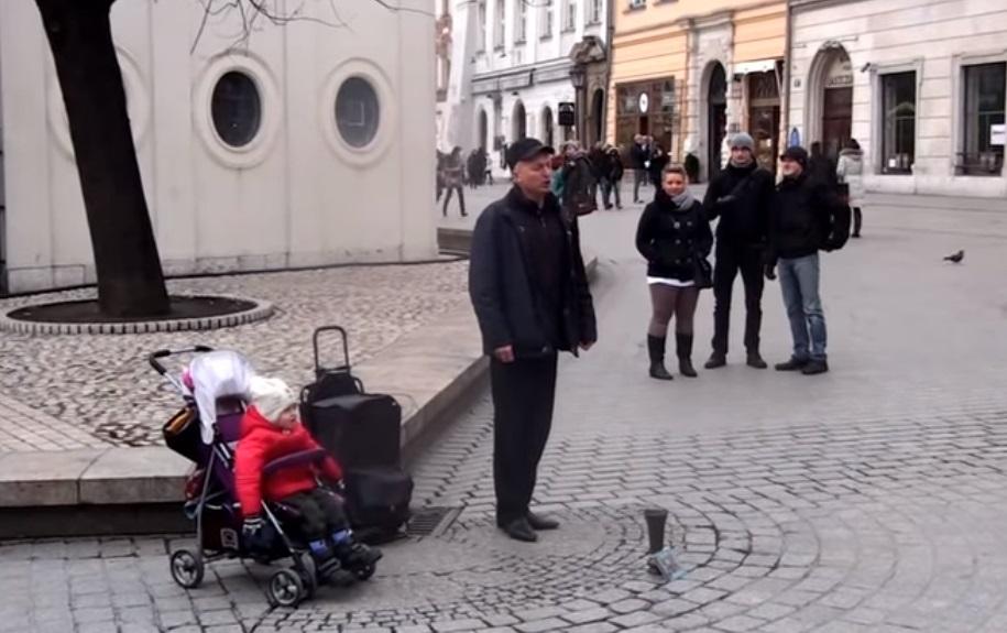 Street Musician, song, sing, baby, stroller, cute, Performance, Incredible, street,