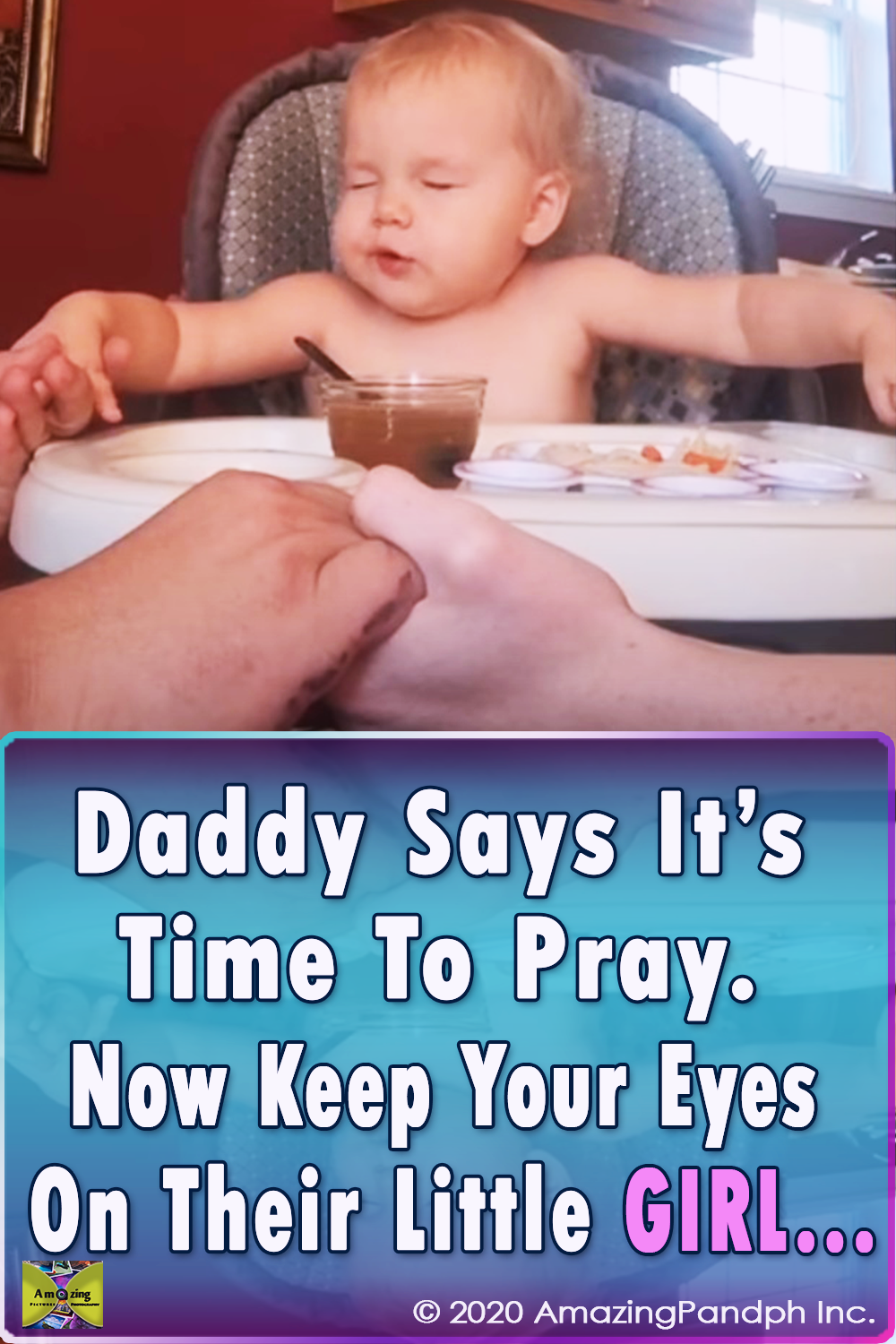 Little Girl, daddy, pray, cute, cuteness overload, baby, heartwarming, adorable, meal, night,