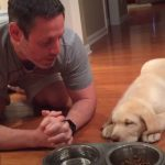 Lab Puppy Praying with Daddy Before Dinner