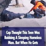 Boy Praying For Homeless Man