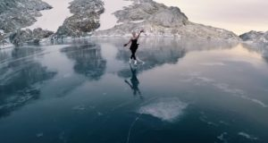Figure, Skating, Frozen, Lake, mountains, British Columbia, travel, nature