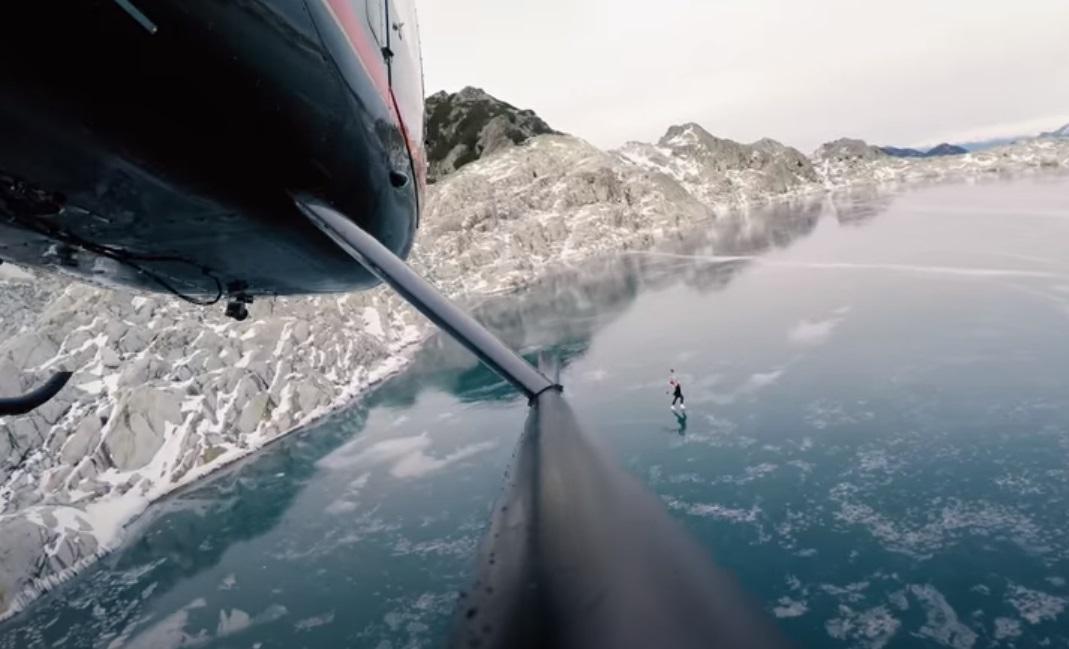 Figure, Skating, Frozen, Lake, mountains, British Columbia, travel, nature
