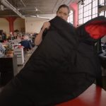 This coat changes into a sleeping bag