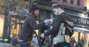 experiment, Money, social, Suits for men, homeless, humanity, truth,