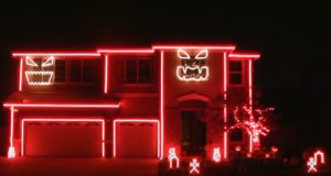 House, creative, decoration, Christmas, Halloween, Lights,
