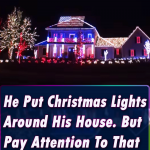 He Put Christmas Lights Around His House. But Pay Attention To That American Flag! Spectacular!