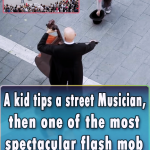 A kid tips a street Musician