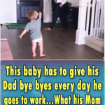 This baby has to give his Dad bye byes