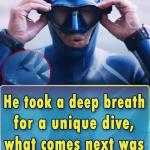 He took a deep breath for a unique dive