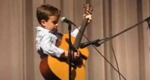 guitar, kids, talent, John Cash, performance, funny, cover, blue, white, text,